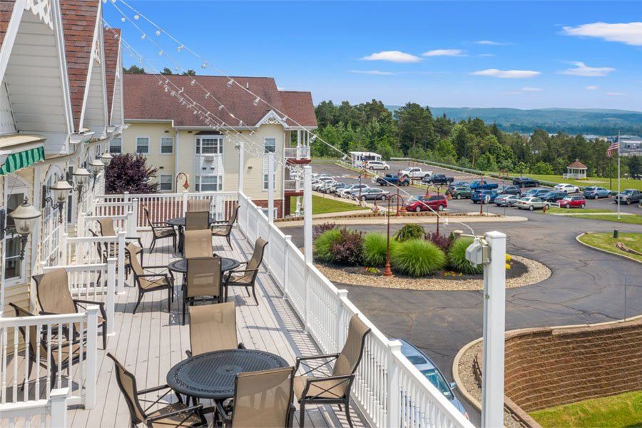 Appleridge Senior Living - Aerial View of Second Story Patio and Entrance