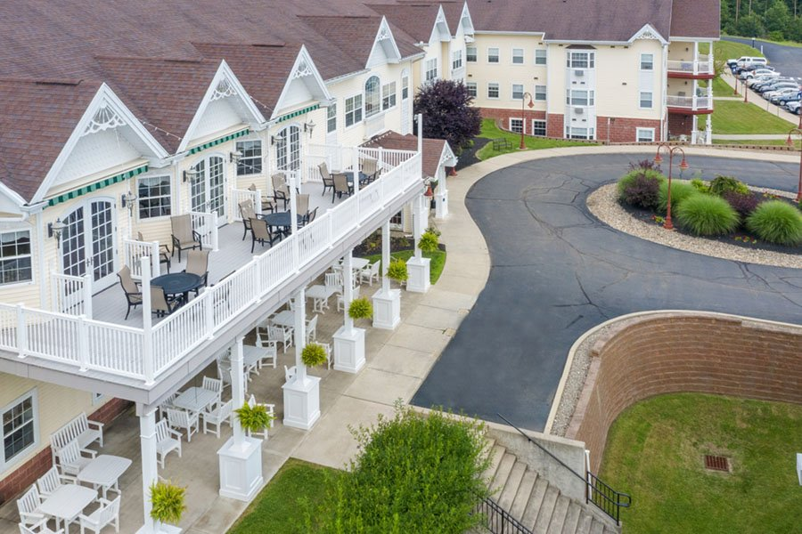 Appleridge Senior Living - Aerial View of Outdoor Patios and Entrance