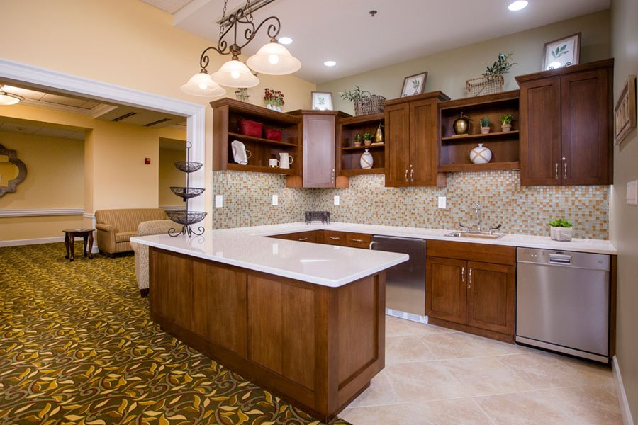 Beautiful Kitchen in Common Area of Beautiful Table Setting at Appleridge Senior Living
