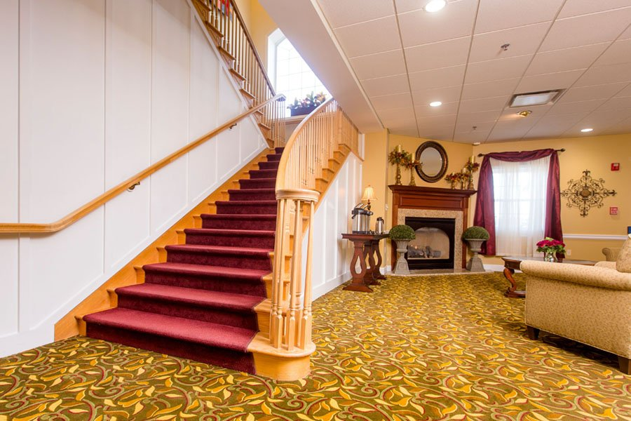 Beautiful Staircase at Appleridge Senior Living