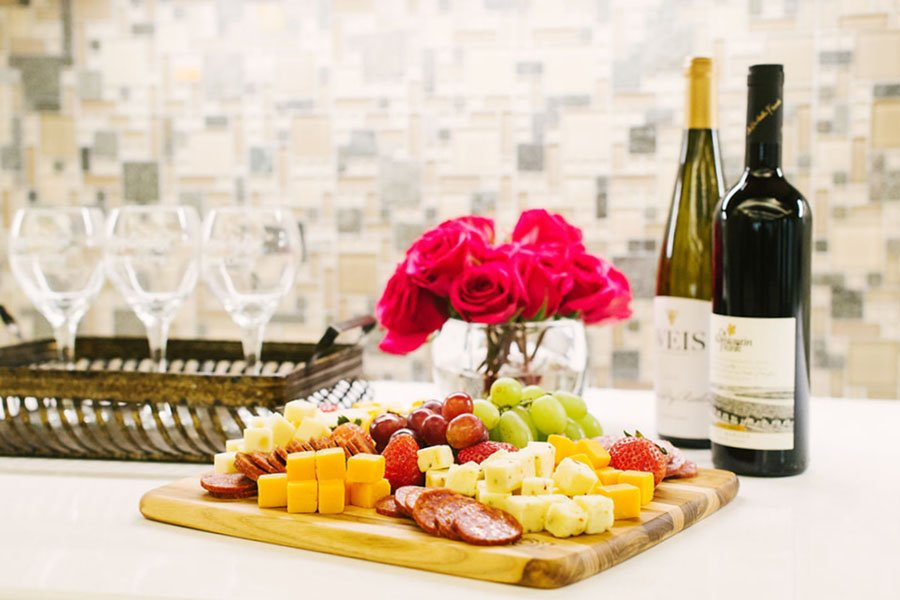 Wine, Cheese, Meat and Fruit Platter at Appleridge Senior Living